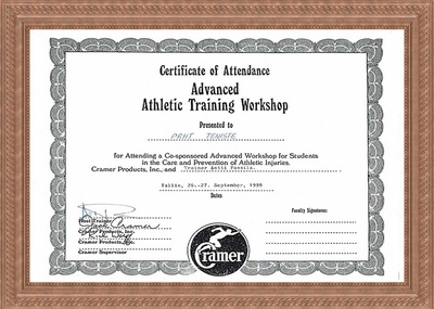 Certificate of Attendance on courses of Athletic Training