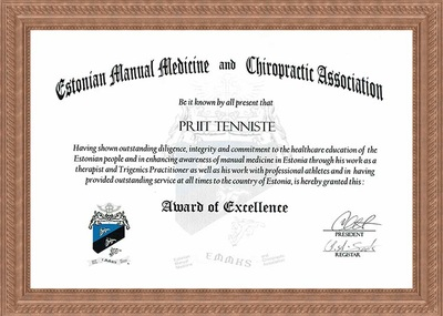 Certificate of graduation Manual Medicine & Trigenics Practitioner