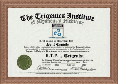 Certificate of registered Trigenics practitioner