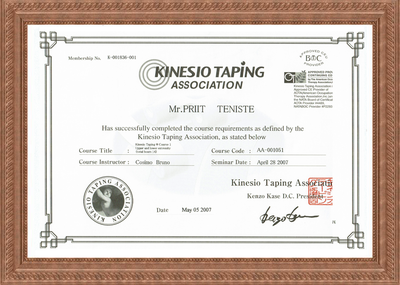 Certificate of Kinesio taping