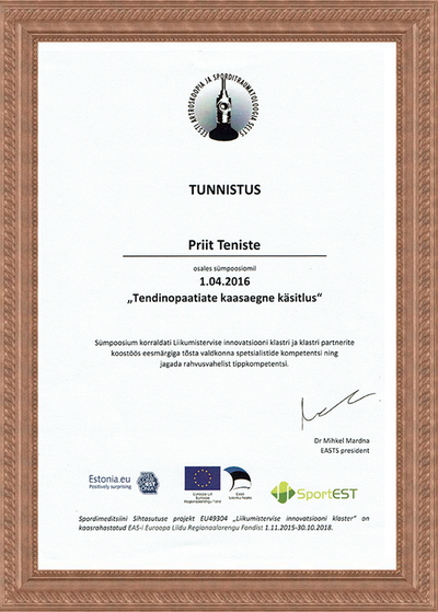 Certificate of Tendiopathy