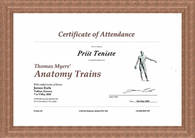 Certificate of Attendance on courses of Anatomy Trains Thomas Myers