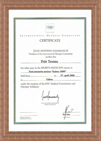 Certificate of Sports trainers Course by Olympic Comitee