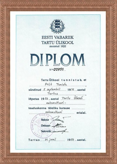 Diploma of Graduation from Tartu University