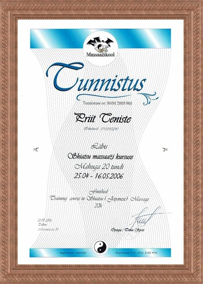 Certificate of graduation of Shiatsu Massage course