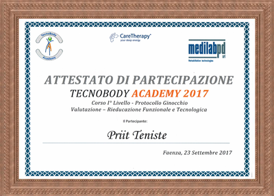 "Certiifcate of attendance on courses of Tecar Therapy ""knee"""